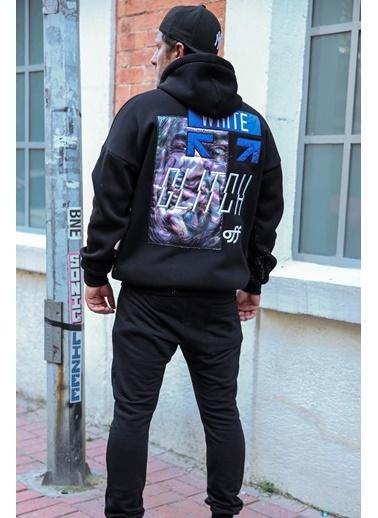 XHAN Siyah Önü Arkası Baskılı Sweatshirt 1Kxe8-44326-02 Siyah